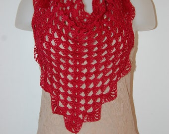 Crochet Triangle Scarf Valentine with Tassel in Scarlet Cotton