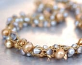 Knitted Freshwater Pearl Necklace - Hand-knitted from Antique Golden Nylon Yarn with Gold and Silver Freshwater Pearls - Bridal Necklace