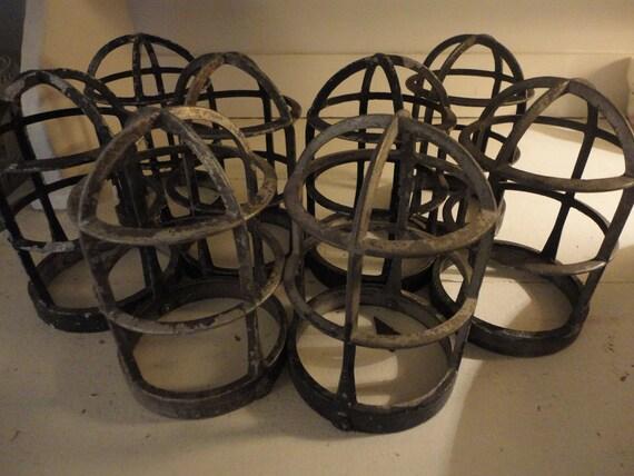 RESERVED for GAIL Vintage Industrial Metal Light Cages