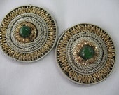2 BEADED APPLIQUE in Gold Silver embroidery with GREEN  bead