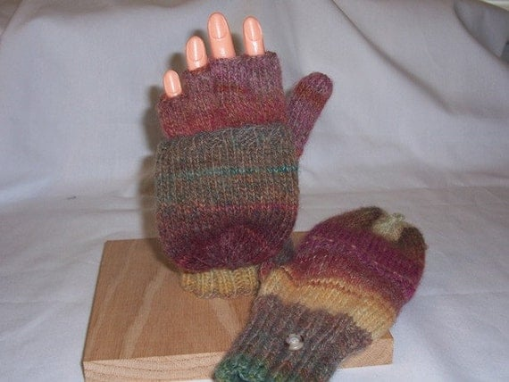 Convertible mittens / fingerless gloves, flip top mittens--multi-color earth tone wool, size adult medium