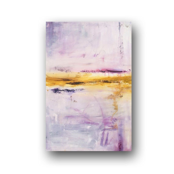 Large Abstract Painting Minimalist Art Shabby Chic Style Original Painting on Canvas Purple Painting Contemporary Art 36x24 by Heather Day