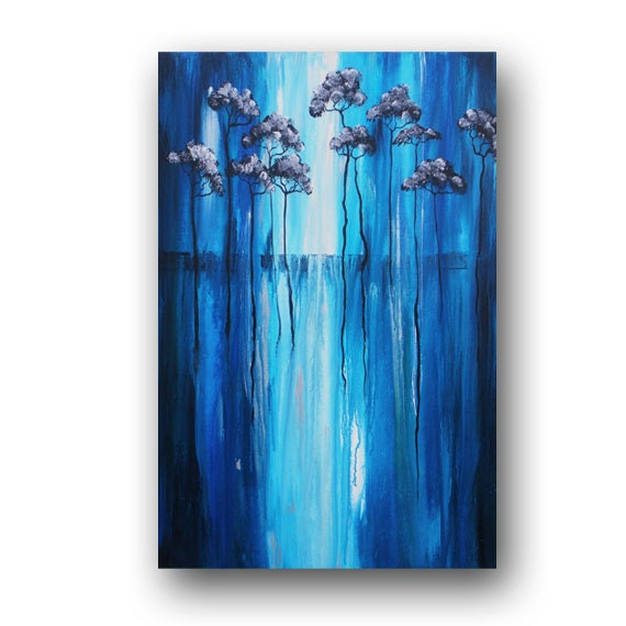 Blue & Silver Painting Abstract Tree Painting Original
