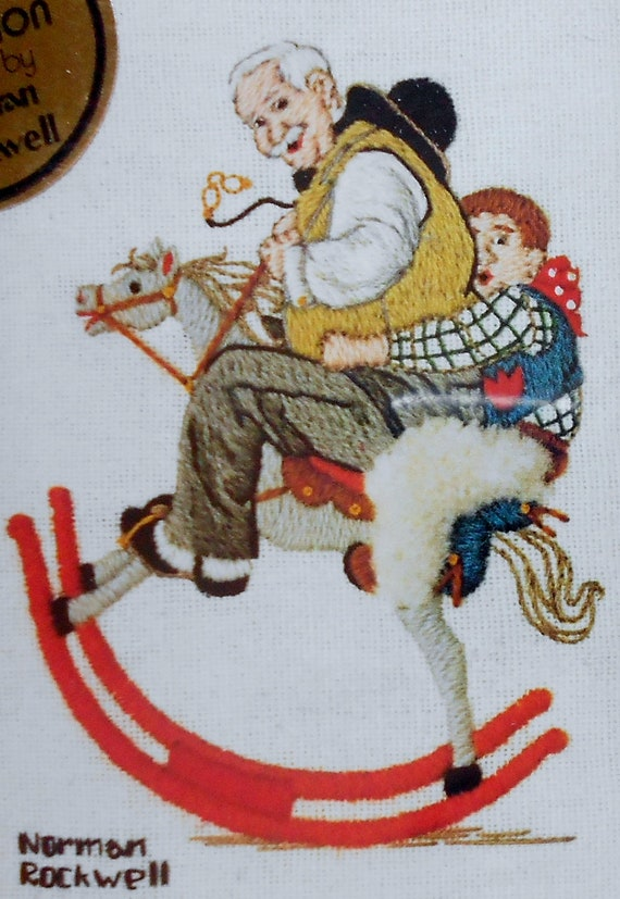 Vintage 1982 Norman Rockwell GRANDPA At The REINS Boy On Rocking Horse By Dimensions - Crewel Embroidery Tapestry Picture Pattern Chart Kit