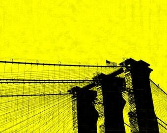 Brooklyn Bridge Pop Art on Stretched Canvas, New York City, NYC, NY, Red, Blue, Yellow, Pink, Orange