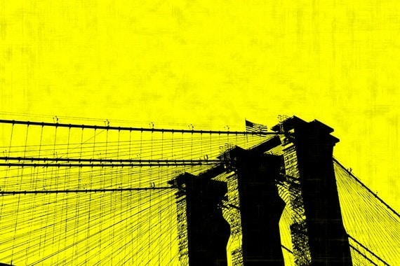 Brooklyn Bridge Pop Art on Stretched Canvas, New York City, NYC, NY, Red, Blue, Yellow, Pink, Orange