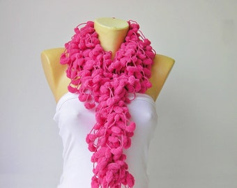 Mulberry scarf/Pompom scarf /cocoon scarf