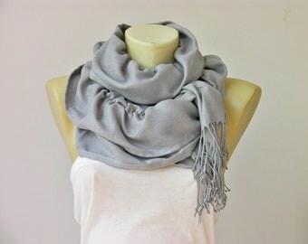 Ruffle scarf  ,Pashmina fabric scarf in  Silver grey