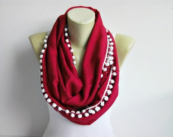 SALE ponpon trimmed Infinity scarfLoop scarf gift for her necklace  scarf pashmina fabric adult scarf