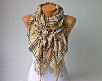 CLEARANCESALE-Ruffle scarf  ,SCARF,square pattern,plaid scarf