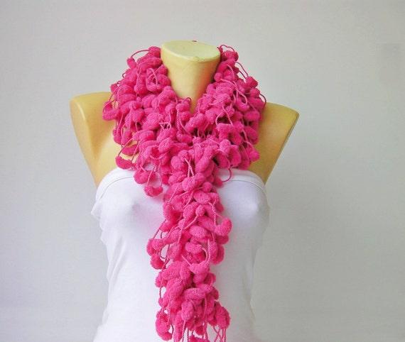 Mulberry scarf/Pompom scarf /cocoon scarf