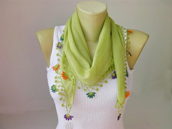 Hand crocheted  lace scarf/ ethnik / bandana  /turban  /headband/gift for her