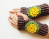 mothers day gift SALE ready to ship Hand Crochet Fingerless Gloves mittens brown with crochet yellow green flower christmas gift for her
