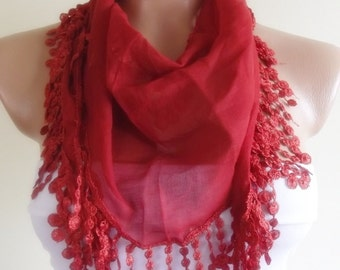 cotton scarf with lace new design shawl neckwarmer cowl christmas gift for her