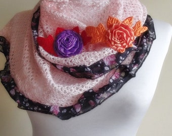 mothers day powder pink stylish scarf shawl gift for her christmas gift bridal orange purple flower applique