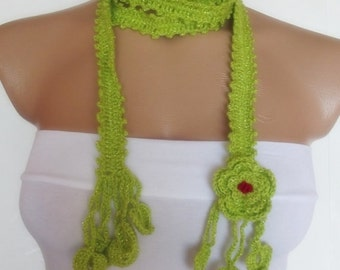 hand crochet scarf  mothers day valentines day gift for her pistachio green christmas gift