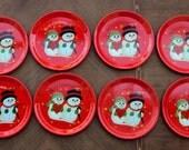 Reserved for Jeanette V. ONLY                     Vintage Metal Snowman Coasters - set of  Seven