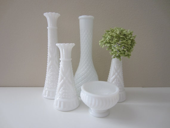 vintage milk glass vases instant collection wedding decor
