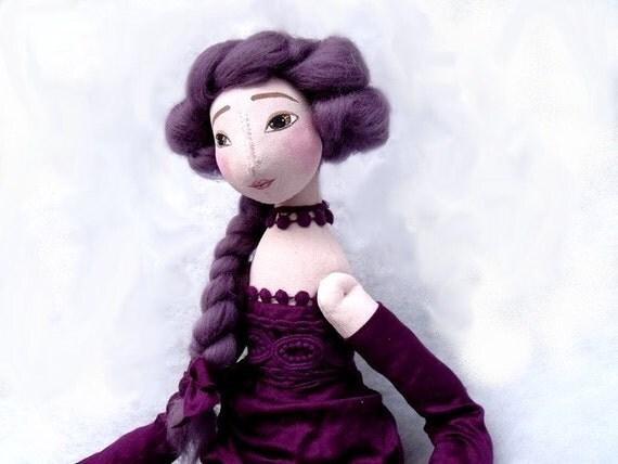 Christmas PURPLE ART DOLL. Lavander one of a kind art doll.  Handmade Soft Sculpture elegant handpainted lilac romantic Fabric Art Doll