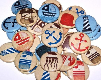 """Nautical Sea Captain Set of 10 Buttons 1 Inch Pinback Buttons 1"""" Pins or Magnets Sailor Anchor"""