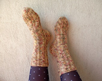 Wool Socks Warm and Soft Hand knitted cabled  leg warm Ready to ship