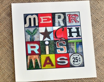 Merry Christmas 10x10 Color Print in Alphabet Photography - holiday decoration, whimsy christmas gift, hostess gift