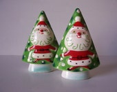 Rare Napco Christmas tree with Santa salt and pepper set with bells, 1959