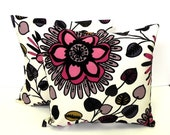 Decorative Pillow Covers. Set of Two 18x18.  Black velvet, cream and dusty pink floral fabric - Belcanto Rose