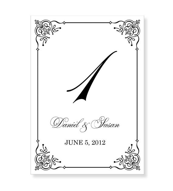 Instant download wedding table number template by 43lucy for Table numbers for wedding reception templates
