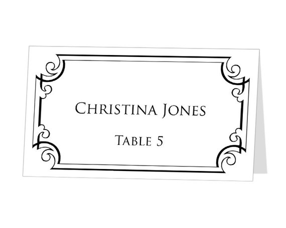items similar to instant download print at home place cards template buffet label ornate. Black Bedroom Furniture Sets. Home Design Ideas