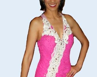 Pink Ballroom Dance Dress with White Lace   Dance Ballroom Dresses
