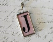 """1"""" x 1 3/4"""" Pink initial """"J"""" with Vintage Crowns Soldered Pendant Charm"""