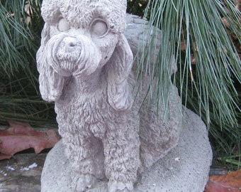 Concrete Poodle Dog Angel Statue