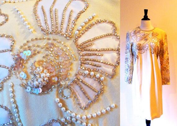Vintage Formal Dress, Designer Vintage Oleg Cassini, Gold Silk Dress, Beaded Dress