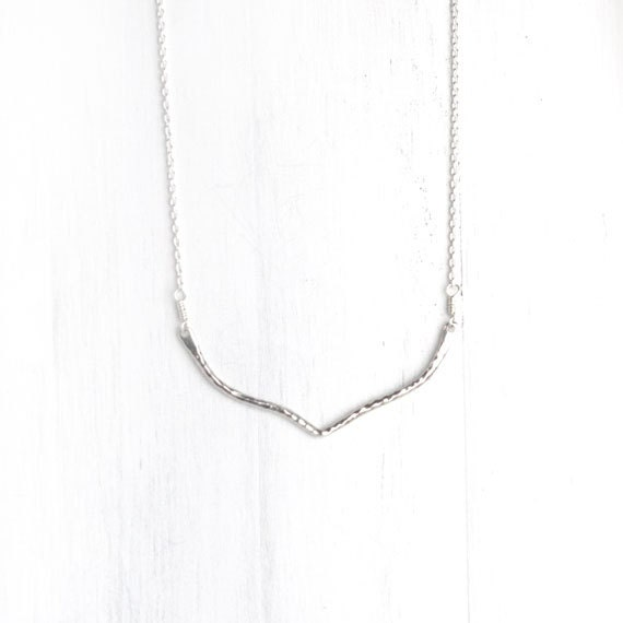 CYBER MONDAY ETSY - Silver Chevron Necklace / V-Shaped Minimalist Sterling Silver Necklace / Simple Everyday Jewelry