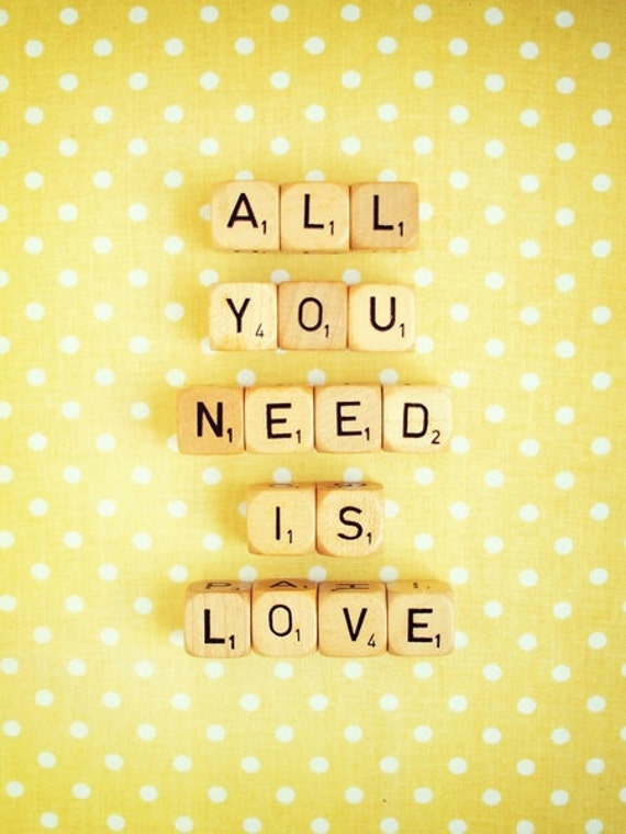 All You Need is Love Photograph. Wall Art Print. Fine Art Photography. Scrabble Photograph. Yellow White. Polka Dots. Home Décor. Size A4