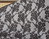 "55.12"" Black Lace Fabric Floral Mesh Lace Trim for Wedding Dress By the Yard"