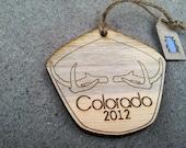 Colorado Antlers Beetle Kill Pine Wood Ornament