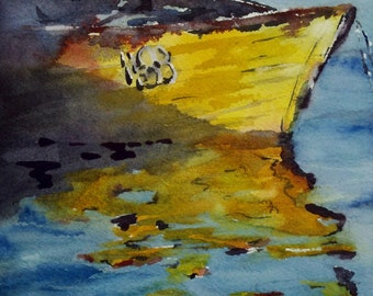 "Nautical art, boat, reflection, harbor, yellow, ocean. A Time to Relect- original watercolor painting (6"" x 6"")."