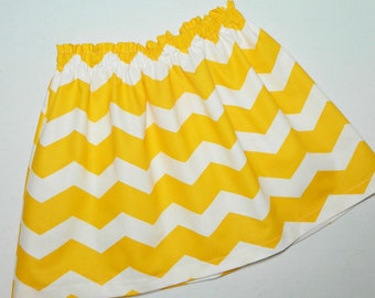 Tween, girl, toddler and baby mustard yellow gold and white chevron fabric skirt in sizes nb 3m 6m 12m 18m 24m 2t 3T 4T 5T 6 7 8 10 12 14 16