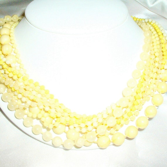 Vintage Yellow Beaded Multi Strand Necklace