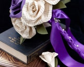 Book Page Rose Bridal Bouquet and Boutonniere Set