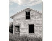 Farmhouse Photo, Grey Old Barn, Antique, Decay, Country Landscape, rustic, pale, blue, gray, periwinkle, abandoned, art print