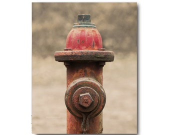 Red Antique Fire Hydrant Photo, old fire hydrant,  rustic, rural, weathered, rusty, whimsical art, rust, firefighter, decor, 123team