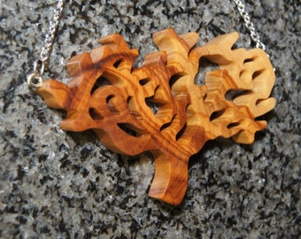 Acacia Tree Necklace, Olive Wood Pendant, wood jewelry, wood grain
