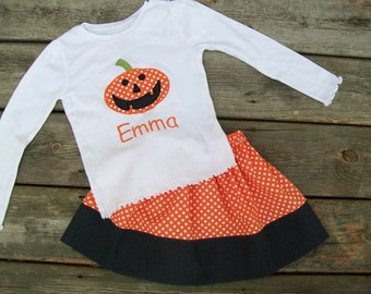 Girl's Toddlers Skirt and Shirt Outfit - Halloween Skirt with Pumpkin Applique Shirt