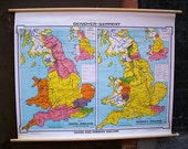 Saxon and Norman England Vintage Wall Map