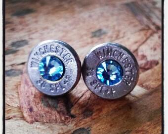 Bullet Stud Earrings- Light Blue
