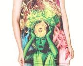 Telepathy Womens Art Indie Sci-Fi Black Women Top Tunic Photo Transfer Tank Top Singlet Sleeveless Punk Rock T-Shirt Size L