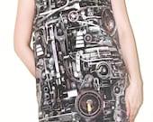 Steampunk Machine Engine Women Black Tank Top Singlet Tunic Vest Sleeveless Photo Transfer Punk Rock T-Shirt Size L
